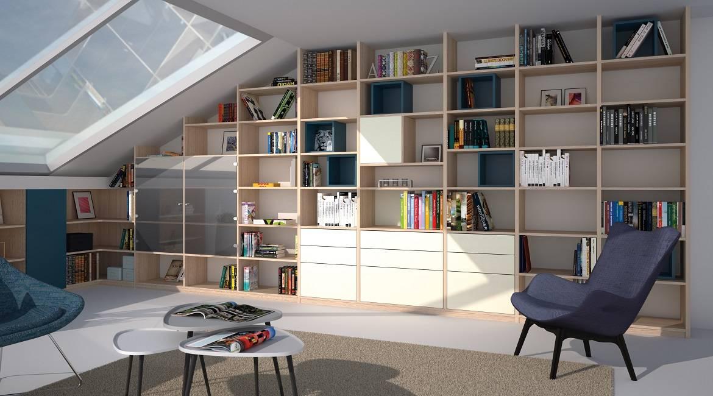 biblioth que sur mesure sous pente conception de cuisines allemandes libourne cuisiligne. Black Bedroom Furniture Sets. Home Design Ideas