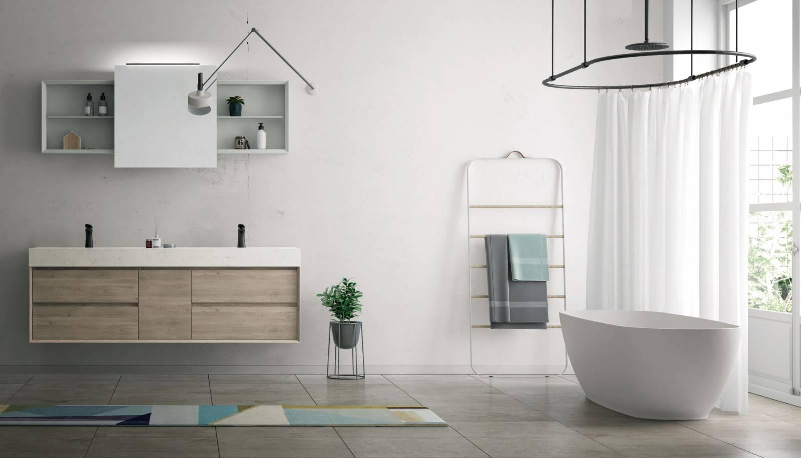 Salle De Bain Marbre De Carrare salle de bain moderne - bois clair revêtu d'un marbre de